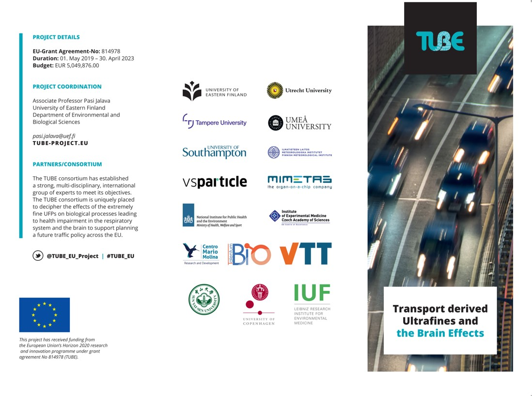 TUBE brochure page 1, showing a picture of cars driving on a busy motorway, the logos of Consortium partners and information text on the project