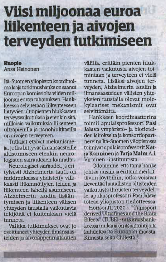 Picture of the newsclip of the original article from Savon Sanomat