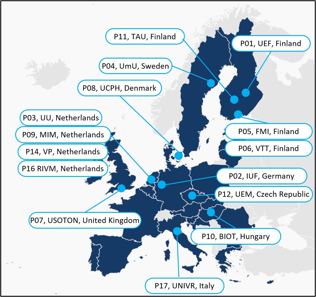 Map of Europe showing member countries of the TUBE consortium (Finland, Sweden, Germany, U.K., Denmark, The Netherlands, Czech Republic, Hungary, Italy)